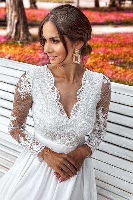 Schlichtes Brautkleider Mit Ärmel | Hochzeitskleider mit Spitze_4
