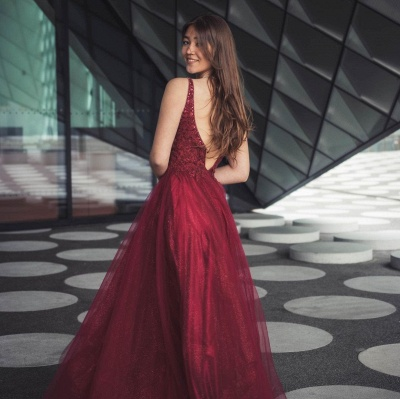 Wine red evening dresses long | Prom dresses cheap_2