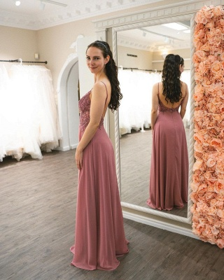 Simple Pink Prom Dresses   Cheap Evening Gowns_4