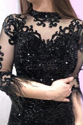Abendkleider Lang Glitzer | Schwarze Abiballkleider mit Ärmel_3