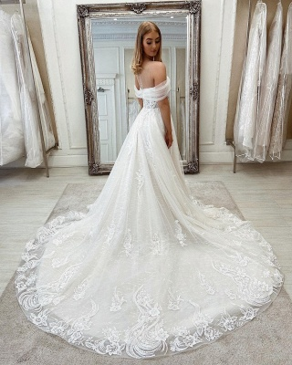 Sparkly A Linie Lace Wedding Gowns Cheap Wedding Dresses_3