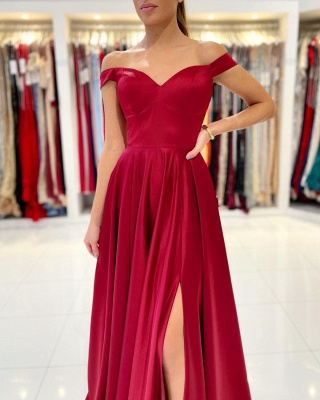 Simple evening dress long red | Prom dresses cheap_3