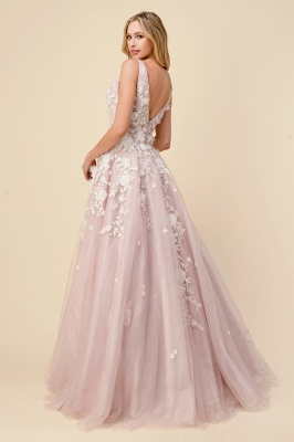 Pink Evening Dress Long V Neck | Prom dresses with lace_2