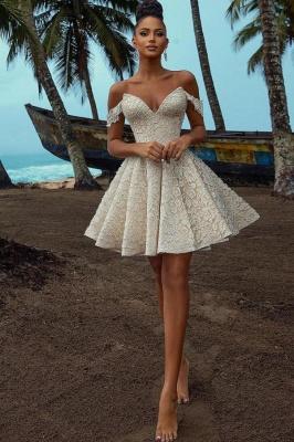 Brautkleid A Linie Spitze | Kurze Hochzeitskleider Günstig