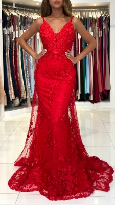 Wonderful evening dresses long red | Lace prom dresses cheap_2