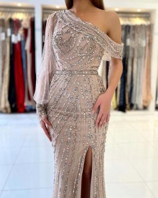 Luxus Abendkleider Lang Glitzer | Abiballkleider mit Ärmel_2