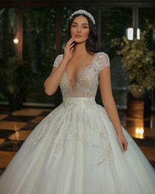 Luxus Brautkleider A Linie | Hochzeitskleider mit Glitzer_4