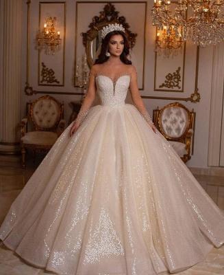 Prinzessin Hochzeitskleider Glitzer | Brautkleider Mit Ärmel_2