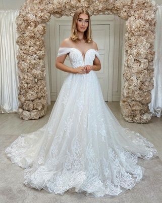 Sparkly A Linie Lace Wedding Gowns Cheap Wedding Dresses_2