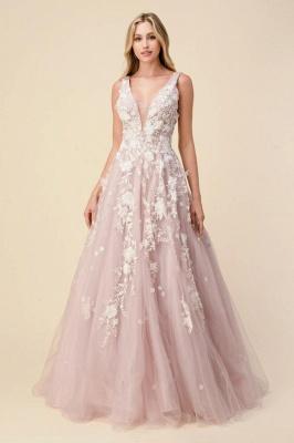 Rosa Abendkleid Lang V Ausschnitt | Abiballkleider mit Spitze