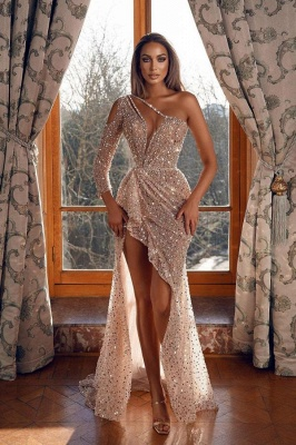 Sparkly Prom Dresses Long | Hi-lo Sequins Evening Gown