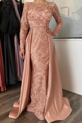 Pink Lace Long Prom Dresses With Sleeve Evening Gowns