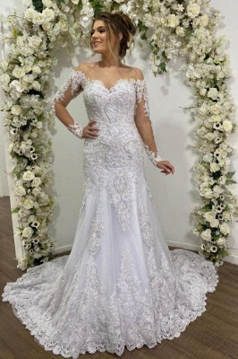 Beauty Mermaid Lace Wedding Dresses Long Sleeve Bridal Gowns