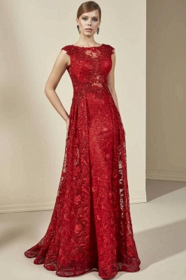 Prom dresses long red | Elegant evening dresses with lace