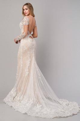 Champagne Brautkleider Spitze | Hochzeitskleider Meerjungfrau mit Ärmel_3