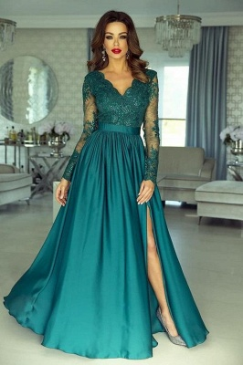 Green evening dresses with sleeves | Prom dresses long cheap