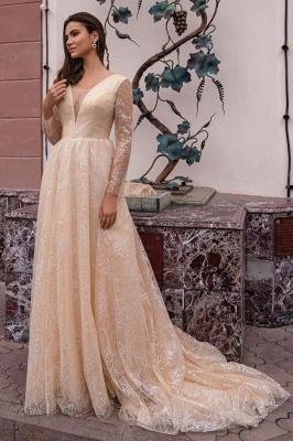 Champagner Brautkleider Mit Ärmel | Hochzeitskleider Glitzer