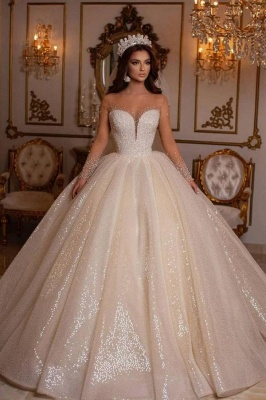 Princess wedding dresses glitter | Wedding dresses with sleeves