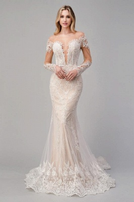 Champagne wedding dresses lace | Mermaid wedding dresses with sleeves