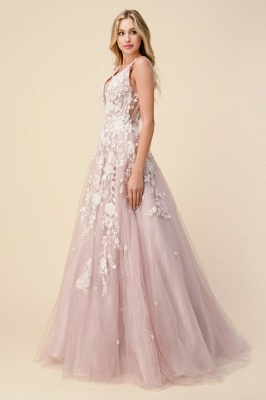 Pink Evening Dress Long V Neck | Prom dresses with lace_3