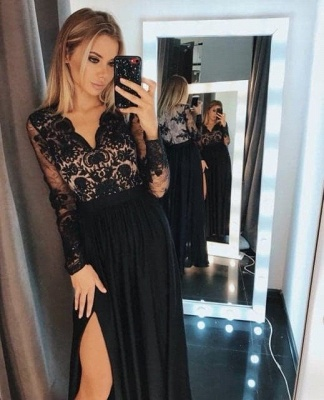 Evening dresses long black | Prom dresses with sleeves_3