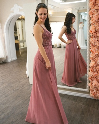 Simple Pink Prom Dresses   Cheap Evening Gowns_2