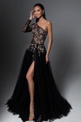 Sexy Long Prom Dresses Black | Cheap Evening Gowns With Sleeves