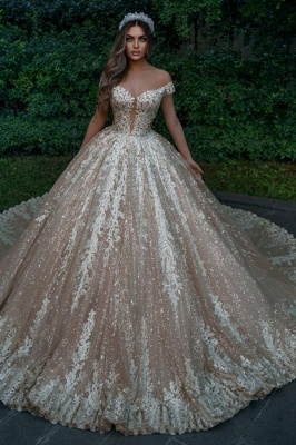 Designer wedding dresses princess glitter | Wedding dresses with lace online