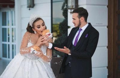 Luxus Brautkleider Mit Ärmel | Prinzessin Hochzeitskleider Glitzer_4