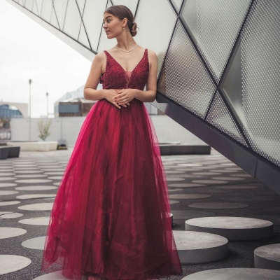 Wine red evening dresses long | Prom dresses cheap_3