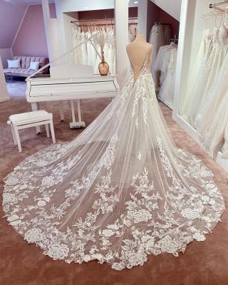Wunderschöne Brautkleider A Linie Spitze | Hochzeitskleider Günstig Online_3