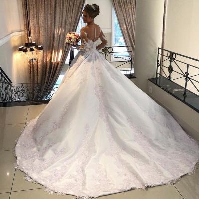 Schöne Brautkleider mit Ärmel | Hochzeitskleider A Linie Spitze_3