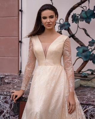 Champagner Brautkleider Mit Ärmel | Hochzeitskleider Glitzer_2