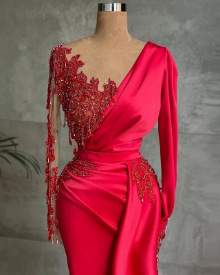 Red Prom Dresses Long Cheap | Evening dresses with sleeves_2
