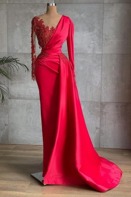 Red Prom Dresses Long Cheap | Evening dresses with sleeves