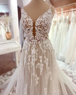 Wunderschöne Brautkleider A Linie Spitze | Hochzeitskleider Günstig Online_4