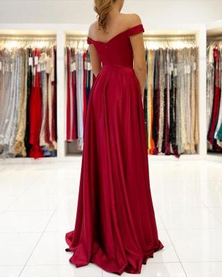 Schlichtes Abendkleid Lang Rot | Abiballkleider Günstig_2
