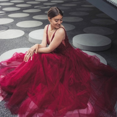 Wine red evening dresses long | Prom dresses cheap_4