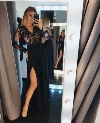 Evening dresses long black | Prom dresses with sleeves_2