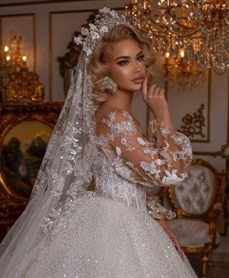 Luxus Hochzeitskleider mit Ärmel | Brautkleider Prinzessin Glitzer_4