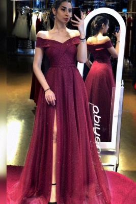 Evening dresses long glitter | Wine red prom dresses cheap