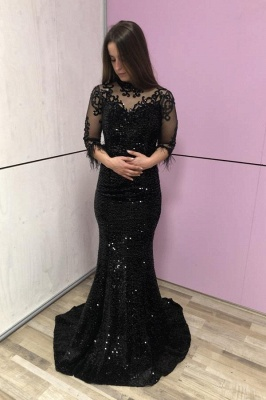 Evening dresses long glitter | Black prom dresses with sleeves