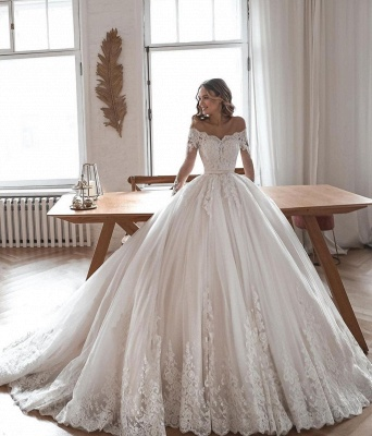 Designer Brautkleider Mit Ärmel | Hochzeitskleider A Linie Spitze_2