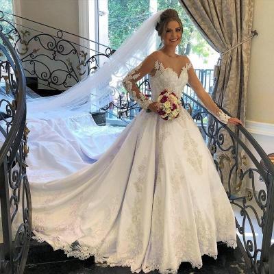 Schöne Brautkleider mit Ärmel | Hochzeitskleider A Linie Spitze_2