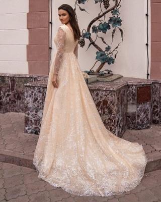 Champagner Brautkleider Mit Ärmel | Hochzeitskleider Glitzer_3
