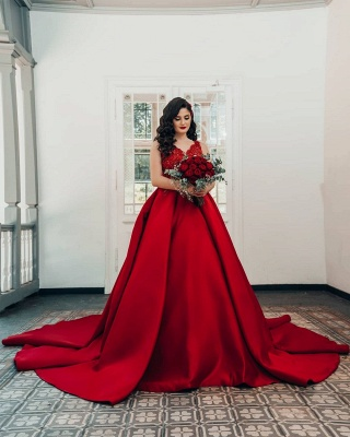 Red wedding dresses princess   Wedding dresses with lace_2