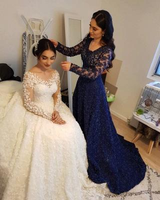 Elegante Hochzeitskleider Prinzessin | Brautkleider Lange Ärmel_11