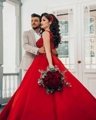 Red wedding dresses princess   Wedding dresses with lace_4