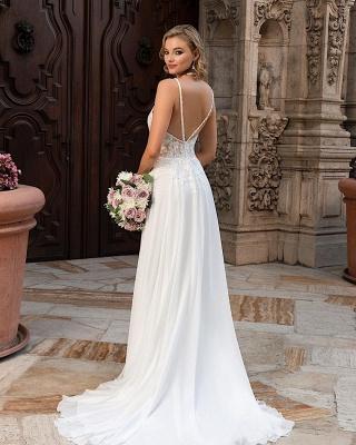 Schlichtes Brautkleid Mit Spitze | Chiffon Hochzeitskleider Günstig_2