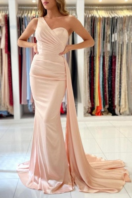 Simple evening dress pearl pink | Prom dresses long cheap